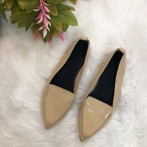 ALDO Nude Leather Pointed Toe Flats Size 8.5